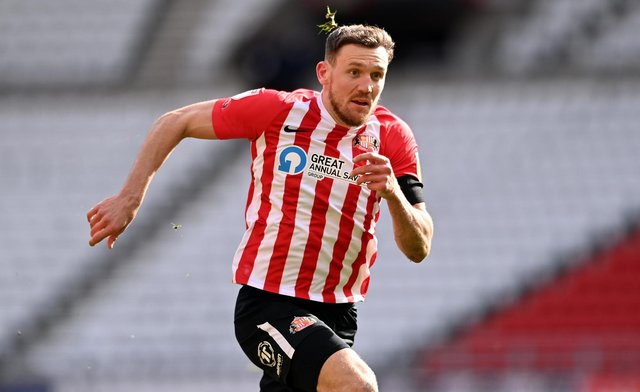 SUNDERLAND, ENGLAND - APRIL 10: Sunderland player Charlie Wyke in action during the Sky Bet League One match between Sunderland and Charlton Athletic at Stadium of Light on April 10, 2021 in Sunderland, England. Sporting stadiums around the UK remain under strict restrictions due to the Coronavirus Pandemic as Government social distancing laws prohibit fans inside venues resulting in games being played behind closed doors. (Photo by Stu Forster/Getty Images)