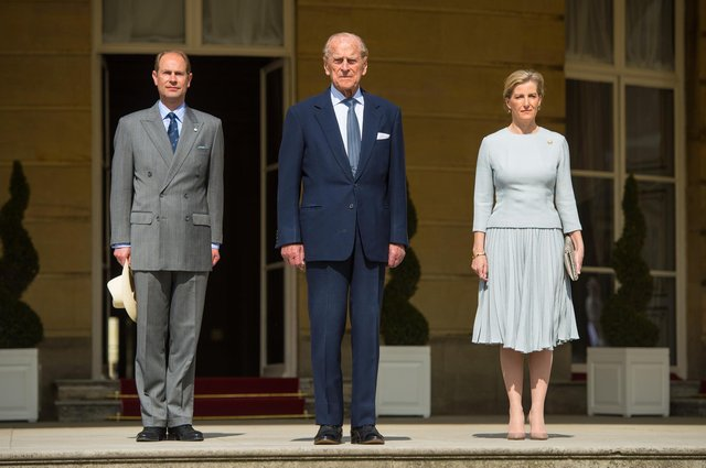 Prince Edward, Earl of Wessex, Prince Philip, Duke of Edinburgh and Sophie, Countess of Wessex attend the Duke of Edinburgh Award's 60th Anniversary Garden Party in 2016. Picture: Dominic Lipinski - WPA Photo/Getty Images.