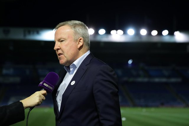 Kenny Jackett, manager of Portsmouth, is interviewed by beIN SPORTS prior to the FA Cup Fifth Round match between Portsmouth FC and Arsenal FC at Fratton Park on March 2, 2020.