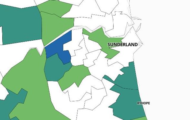 These are the areas of Sunderland which recorded less than three Covid cases in the last seven days.