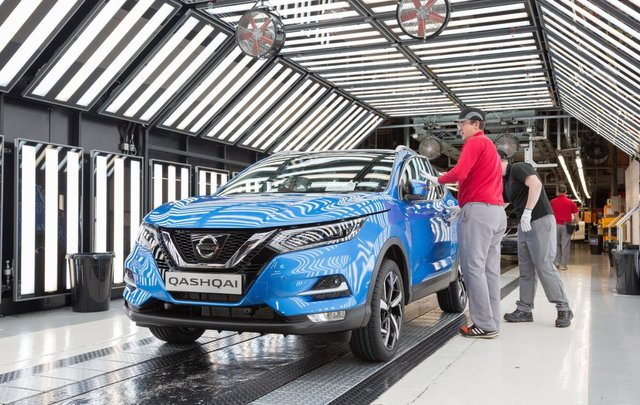 An existing model of the Qashqai on the production line of Nissan's Sunderland plant.