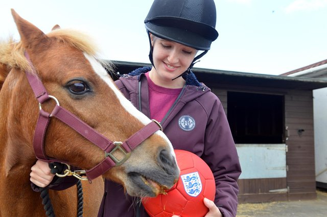 Yellow the psychic pony with horse rider Georgia Shaw.