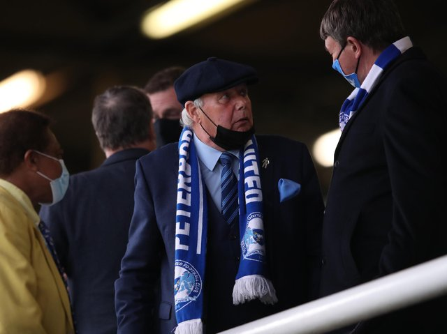 Barry Fry, director of football at Peterborough United, looks on during the Sky Bet League One match between Peterborough United and Doncaster Rovers at Weston Homes Stadium.
