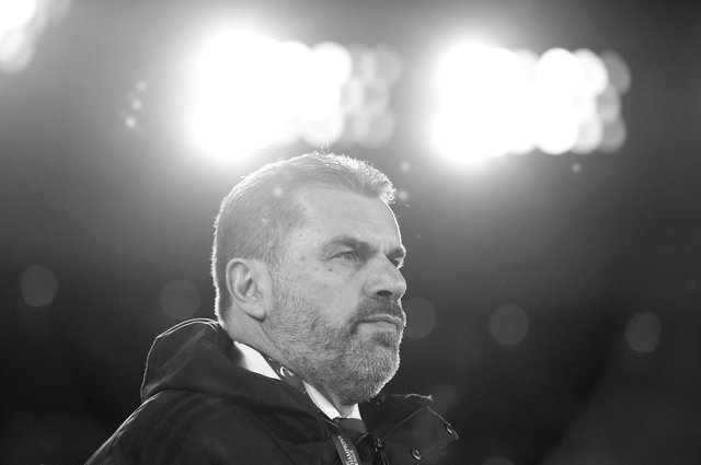 YOKOHAMA, JAPAN - FEBRUARY 19: (EDITOR'S NOTE: This image has been converted to black and white.) Head coach Ange Postecoglou of Yokohama F.Marinos looks on during the AFC Champions League Group H match between Yokohama F.Marinos and Sydney FC at Nissan Stadium on February 19, 2020 in Yokohama, Kanagawa, Japan. (Photo by Matt Roberts/Getty Images)