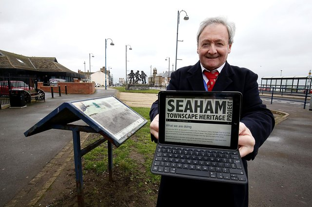 Councillor Kevin Shaw showcasing the Discover Seaham app.