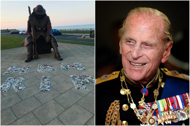A display has been created at the foot of the Tommy statue in memory of the Duke of Edinburgh following his death aged 99.