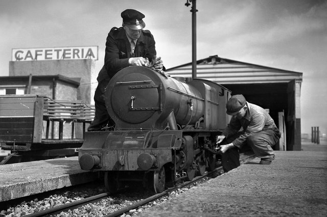 The miniature Royal Scot train on Sunderland seafront in 1954. A half-mile miniature railway track was opened in Seaburn in around 1950. Who remembers this?