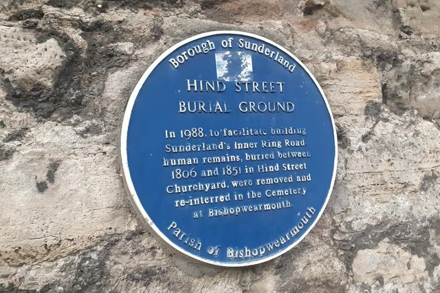 This blue plaque on Low Row tells part of the story. JPI image.