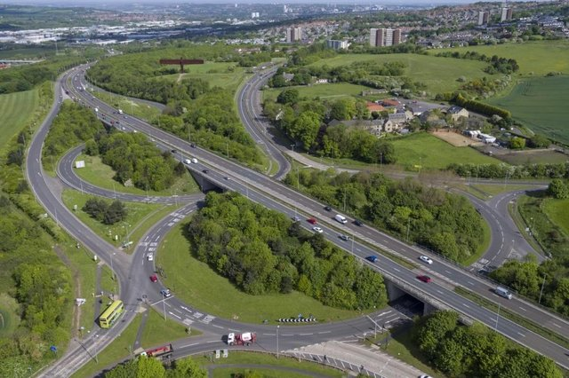 The A1 running overEightonLodge roundabout (junction 66)