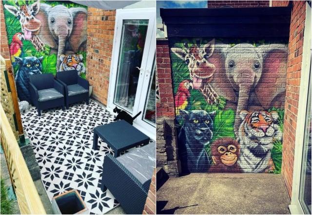 The mural in the patio area shows a jungle scene./Photo: @semi_by_the_fair_sea