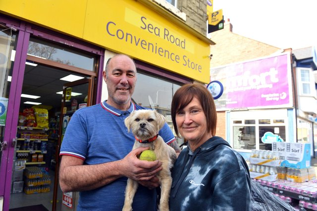 Sea Road Convenience Store new owners Jeff and Beverley Manship and dog Marley welcome dogs in the store to avoid any risk of theft.