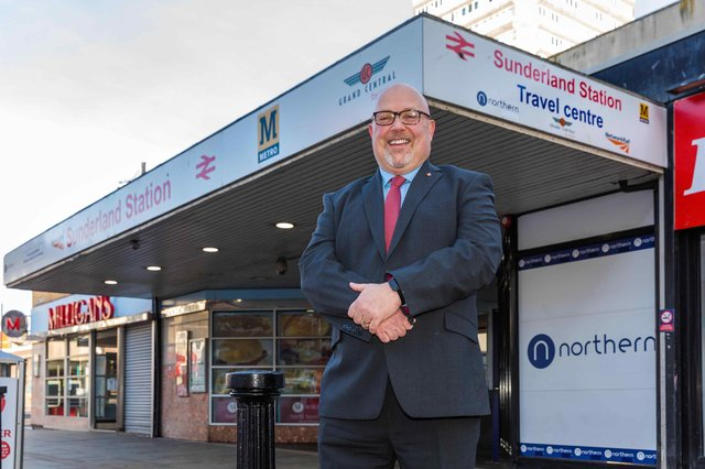 Councillor Graeme Miller at Sunderland Train Station's southern entrance, which is set for a transformation.