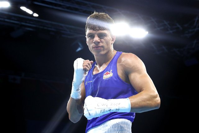 GOLD COAST, AUSTRALIA - APRIL 13:  Pat McCormack of England celebrates beating Manoj Kumar of India in their Men's Welter 69kg Semifinal bout during Boxing on day nine of the Gold Coast 2018 Commonwealth Games at Oxenford Studios on April 13, 2018 on the Gold Coast, Australia.  (Photo by Mark Metcalfe/Getty Images)