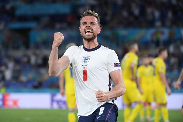 Jordan Henderson celebrates his first England goal.