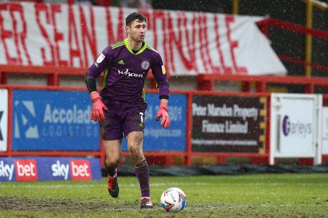 Nathan Baxter during his stint on loan at Accrington Stanley last season.