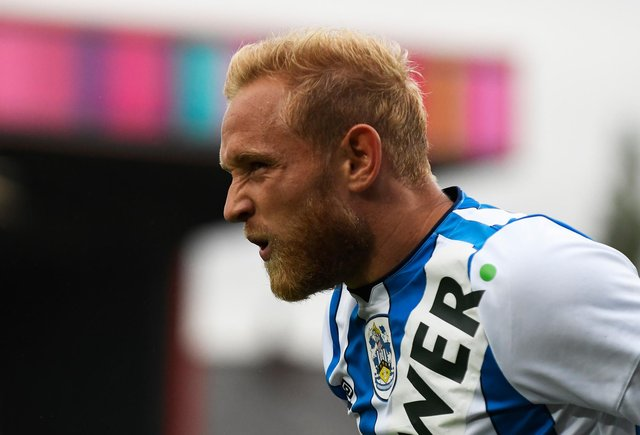 Alex Pritchard of Huddersfield Town reacts during the pre-season friendly between Rochdale and Huddersfield Town at Crown Oil Arena.