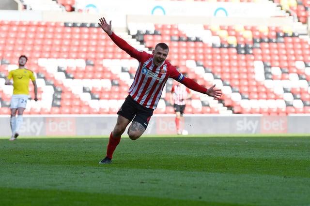Max Power celebrates his goal at the Stadium of Light