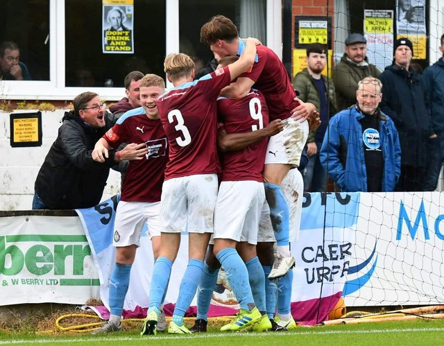 South Shields' players celebrate a goal. Picture by Kev Wilson.