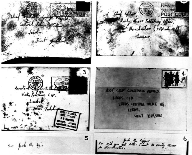 Police images released in 1979 of four envelopes and two signatures of 'The Yorkshire Ripper' - which were actually from John Humble