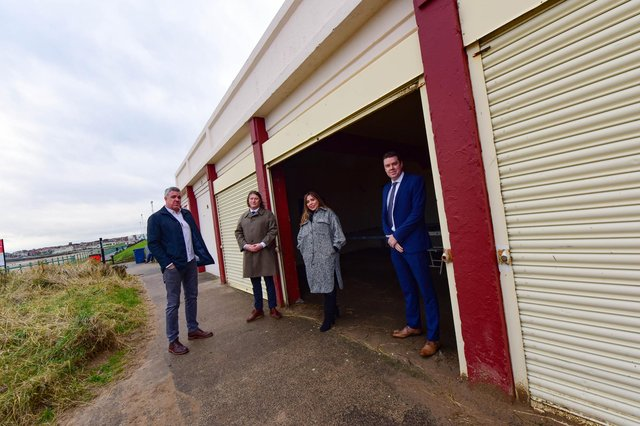 Pictured at the  Bay Shelter, Seaburn Lower Promenade l-r Neil Bassett, Ben Wall, Councillor Rebecca Atkinson Sunderland City Cabinet Member for Dynamic City, and Councillor Kevin Johnston Deputy Cabinet Member Dynamic City.