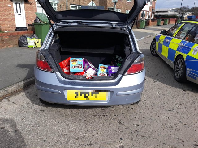Officers discovered a haul of stolen Easter eggs and alcohol in the boot of the car.