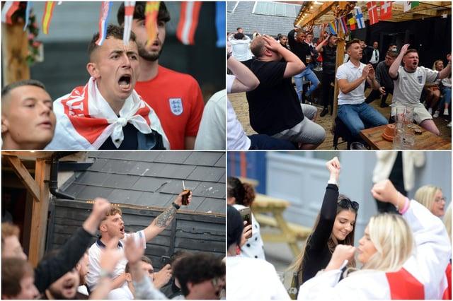 Fans in Sunderland watch the England vs Scotland Euro 2020 match.