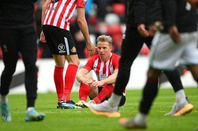 SUNDERLAND, ENGLAND - MAY 22: Sunderland captain Grant Leadbitter reacts dejectedly after the Sky Bet League One Play-off Semi Final 2nd Leg match between Sunderland and Lincoln City  at Stadium of Light on May 22, 2021 in Sunderland, England. (Photo by Stu Forster/Getty Images)