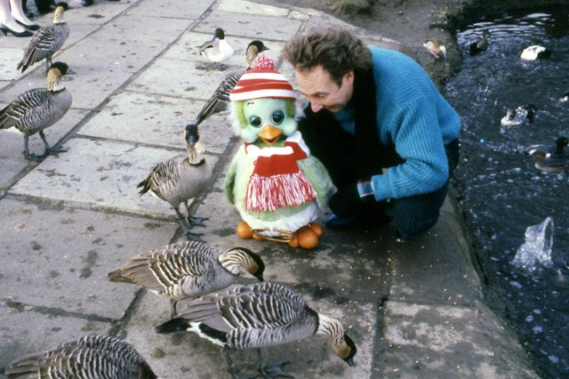 Keith Harris and Orville are pictured saying hello to the residents at Washington Wildfowl Park in 1986.