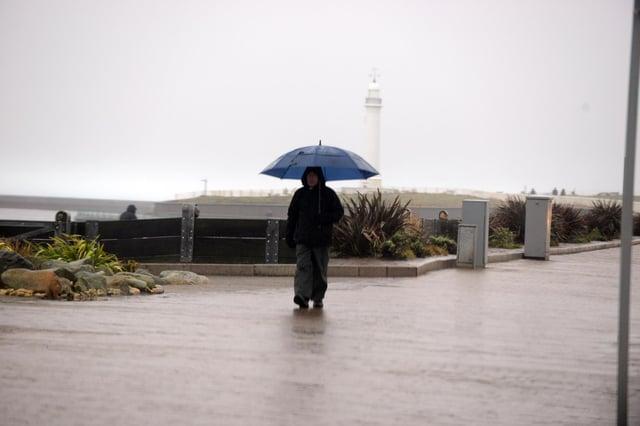 Rain fall at Seaburn.