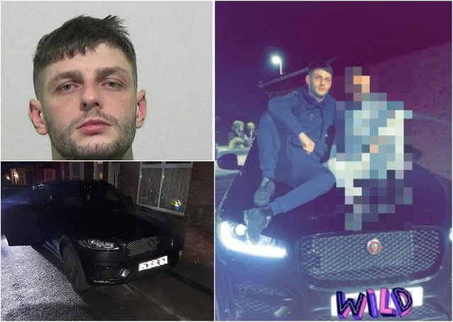 Mark French is behind bars after he posted a picture of himself on Facebook posing on the bonnet of a stolenJaguar.