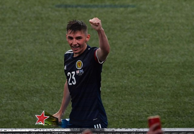 Billy Gilmour playing for Scotland.
