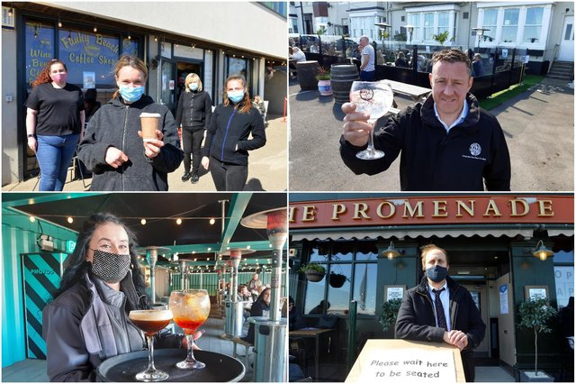 Seafront businesses back open for sit in drinking and dining