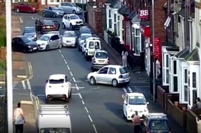 The disorder broke out in Ridley Street, Sunderland.