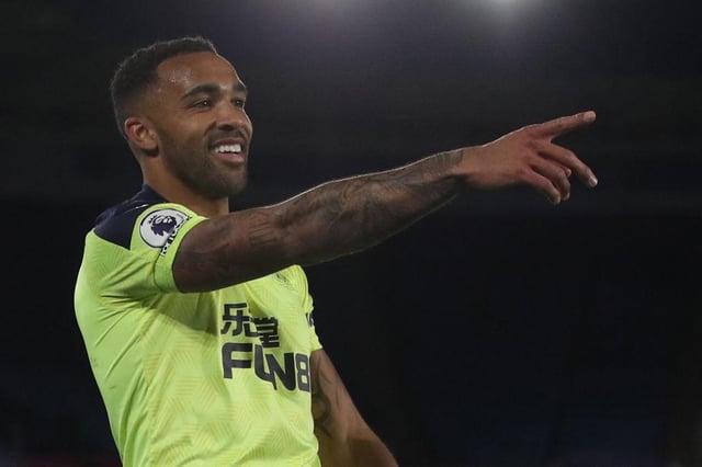Callum Wilson celebrates scoring Newcastle United's third goal against Leicester City.