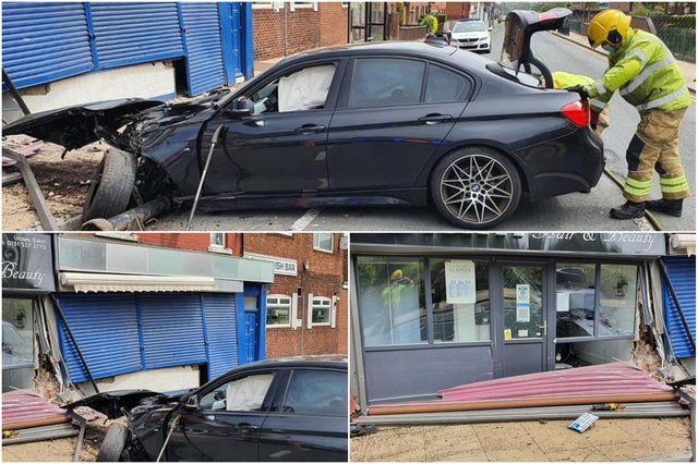 County Durham and Darlington Fire and Rescue Service shared these photos after its Red Watch from Peterlee made sure the BMW was safe following the collision in Seaside Lane, Easington Colliery.
