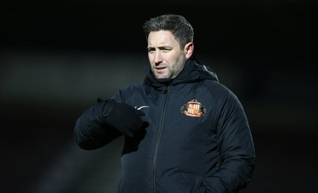 Sunderland head coach Lee Johnson looks on during the Sky Bet League One match between Northampton Town and Sunderland at PTS Academy Stadium on January 2, 2021.