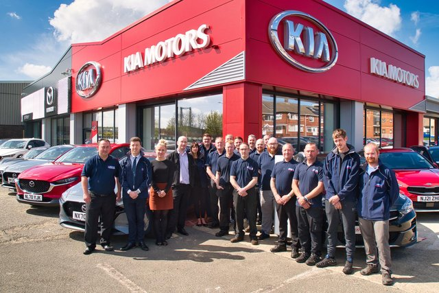 The SG Petch team at their new Mazda and Kia Sunderland site.