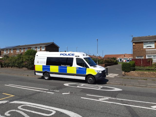 Northumbria Police on Rochdale Way in Sunderland on Wednesday afternoon