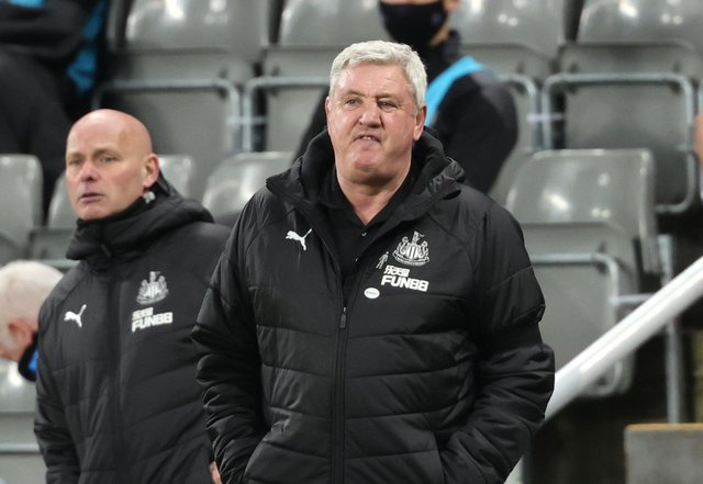 Steve Bruce, manager of Newcastle United, reacts during the Premier League match against Aston Villa at St. James Park.
