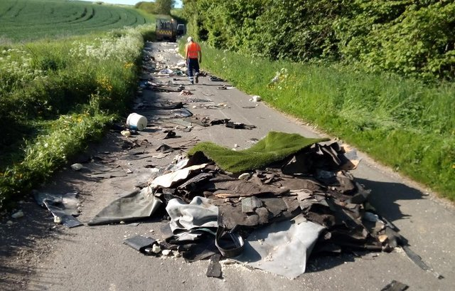 Sunderland City Council shared these photos following the incident of flytipping on Foxcover Lane in New Herrington.