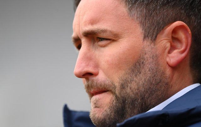 SUNDERLAND, ENGLAND - MAY 22: Sunderland manager Lee Johnson looks on during the Sky Bet League One Play-off Semi Final 2nd Leg match between Sunderland and Lincoln City  at Stadium of Light on May 22, 2021 in Sunderland, England. (Photo by Stu Forster/Getty Images)