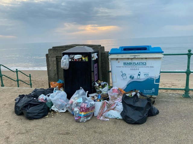 Rubbish collected by Sunderland's Wild Sea Women.