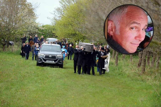 Scores of people turned out to celebrate the life of Darren Blyth at a woodland burial.