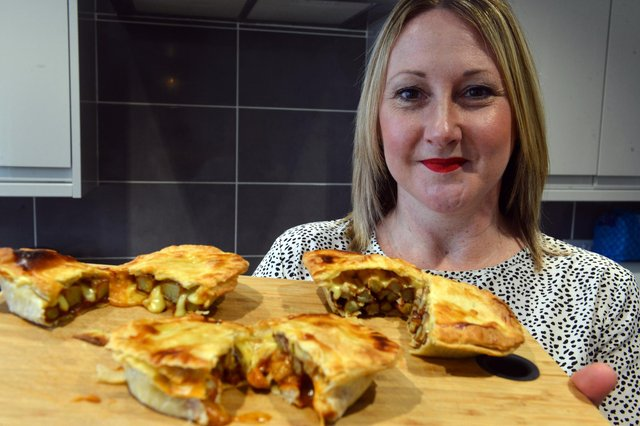 Wearside firm Tarts & Traybakes founder Nicola Ward with her cheesy chips in a pie for Sunderland AFC fans.