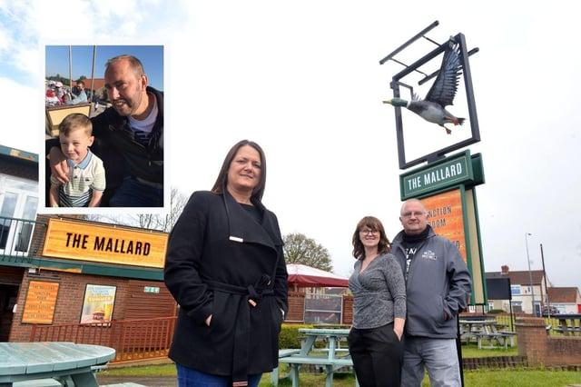 Organiser Jill Donnison with The Mallard licensees Gordon and Elaine Littlewood. Inset: Derek Allen with grandson Kaidyn