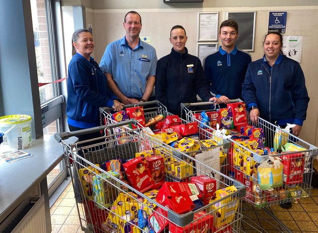 Aldi in Millfield staff members. From left: Tracy Oliver, store manager Barry Robinson, Gemma Marshall, Matthew Keerey and Rihanna Oliver.