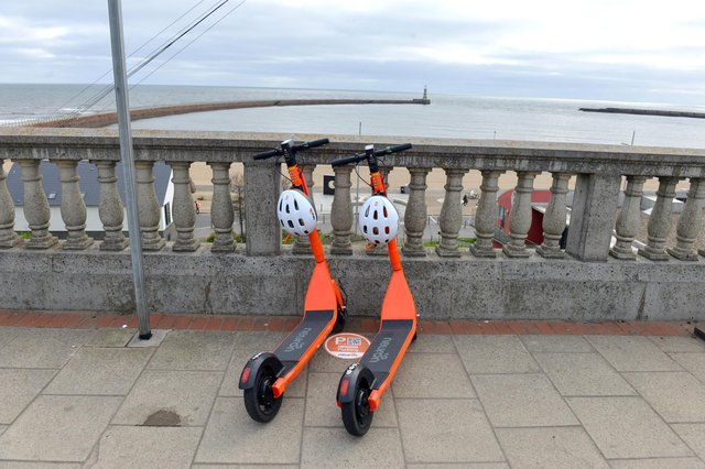 E-scooters parked up in Roker. Police say they have had to intervene with e-scooter drivers in Sunderland