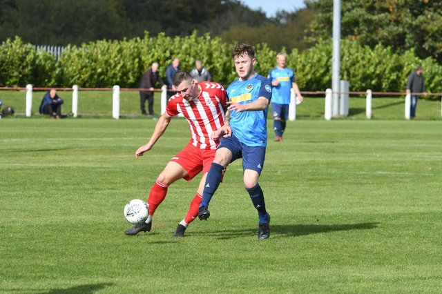 Seaham Red Star (red/white) v Hebburn Town  (blue) at Seaham Town Park, on Saturday.