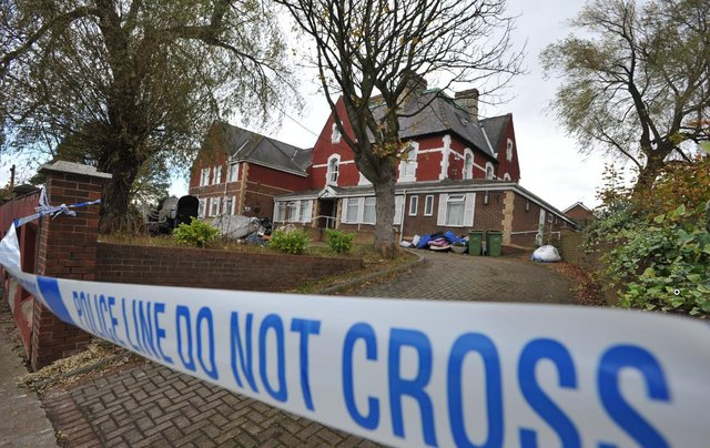 A cordon was thrown around the Manor House Care Home following the arson attack which claimed the life of Patryk Mortimer.