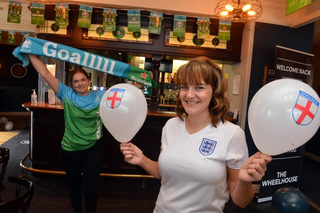 Wheelhouse manager Joanne Wood, front, with sister Rachael Wood are willing England to do well. Picture by Stu Norton.